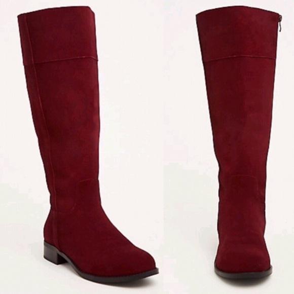 c3b8b81ec15 Torrid Genuine Suede Pull Tab Knee-High Boots